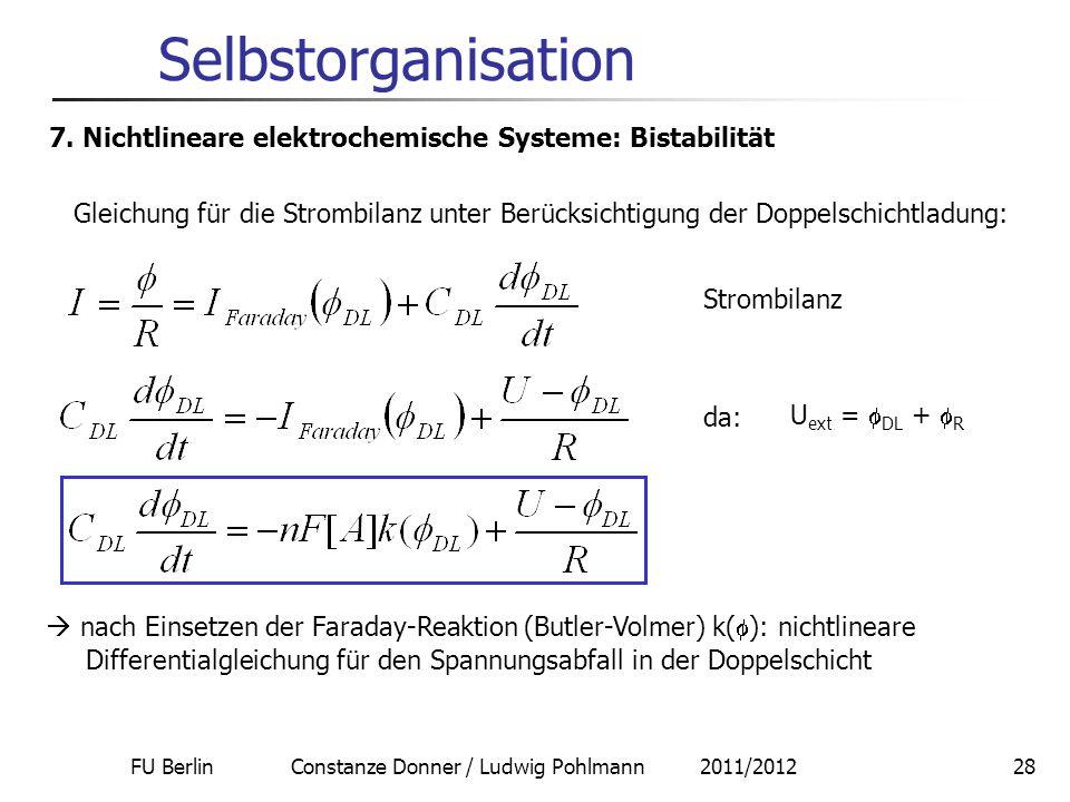 FU Berlin Constanze Donner / Ludwig Pohlmann 2011/201228 Selbstorganisation 7. Nichtlineare elektrochemische Systeme: Bistabilität Gleichung für die S