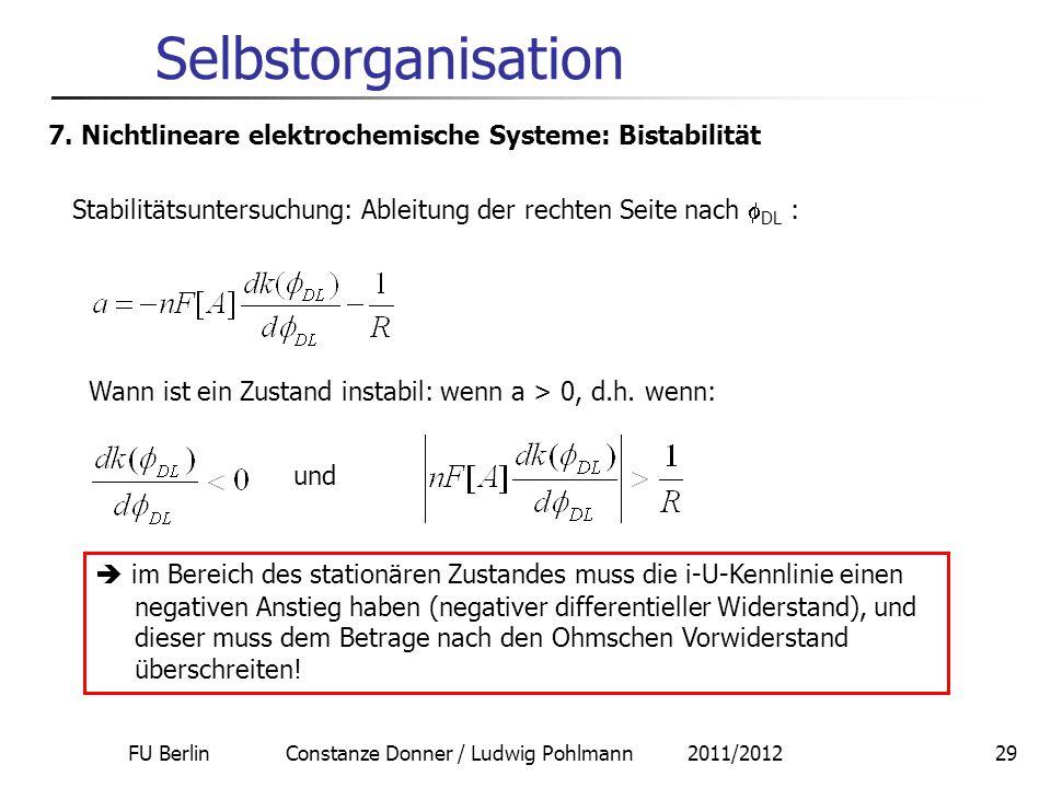 FU Berlin Constanze Donner / Ludwig Pohlmann 2011/201229 Selbstorganisation 7. Nichtlineare elektrochemische Systeme: Bistabilität Stabilitätsuntersuc