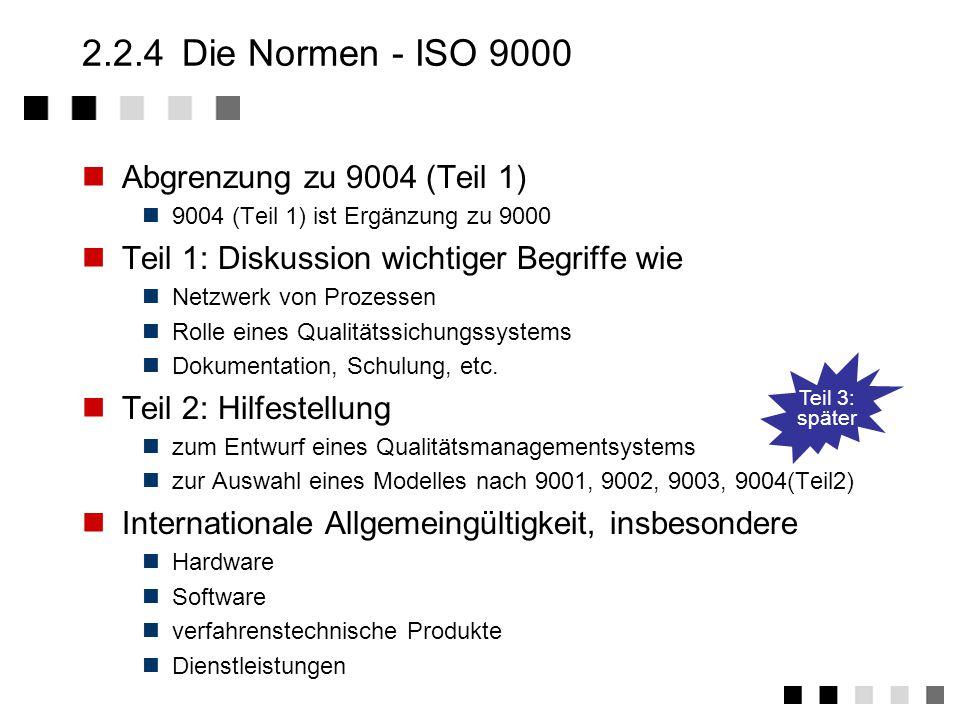2.2.2 Die Normen - Allgemeine Einteilung Begriffe Leitfaden für Audits Forderungen an Messmittel Leitfaden für QM-Handbücher Wirtschaftliche Auswirkungen TQM Begriffe der QS uns Statistik 55350 ISO 10014 ISO 10013 ISO 10012 ISO 10011 ISO 8402 QM-SystemLeitfäden Zusätzliche Normen Grundlagen, zum Nachweis eines QM-Systems Hilfestellung zur Anwendung der Norm Als Ergänzung EN ISO 9004 Teil 2 EN ISO 9003 EN ISO 9002 EN ISO 9001 Entwicklung Produktion Montage Service Produktion Montage Endprüfung Dienst- Leistungen EN ISO 9000 Teil 1-3 EN ISO 9004 Teil 1-7