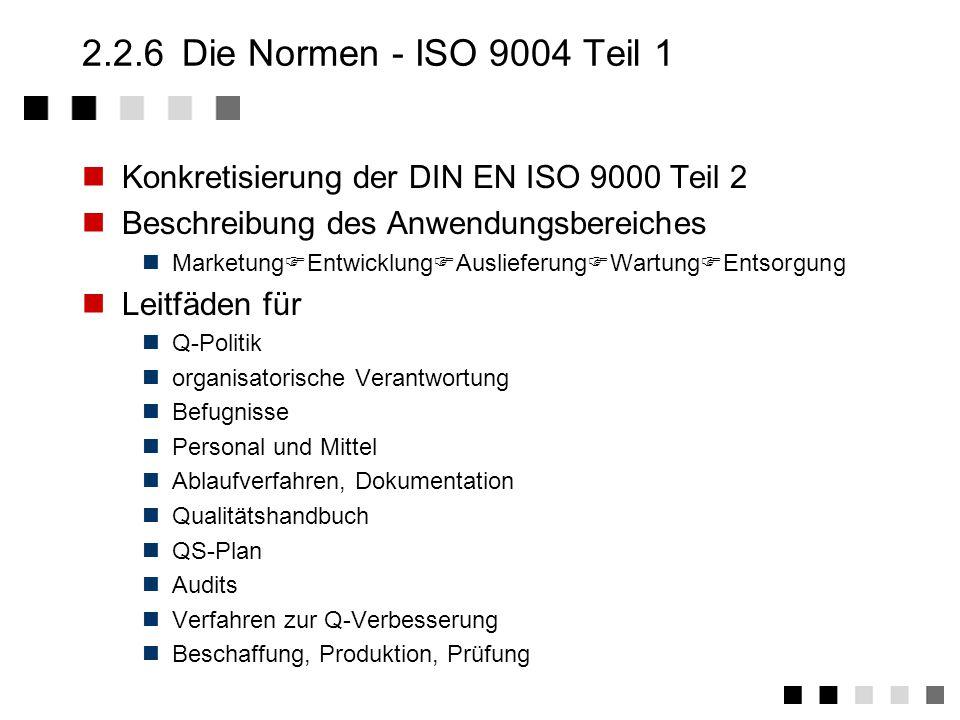 2.2.4 Die Normen - ISO 9000 Abgrenzung zu 9004 (Teil 1) 9004 (Teil 1) ist Ergänzung zu 9000 Teil 1: Diskussion wichtiger Begriffe wie Netzwerk von Prozessen Rolle eines Qualitätssichungssystems Dokumentation, Schulung, etc.