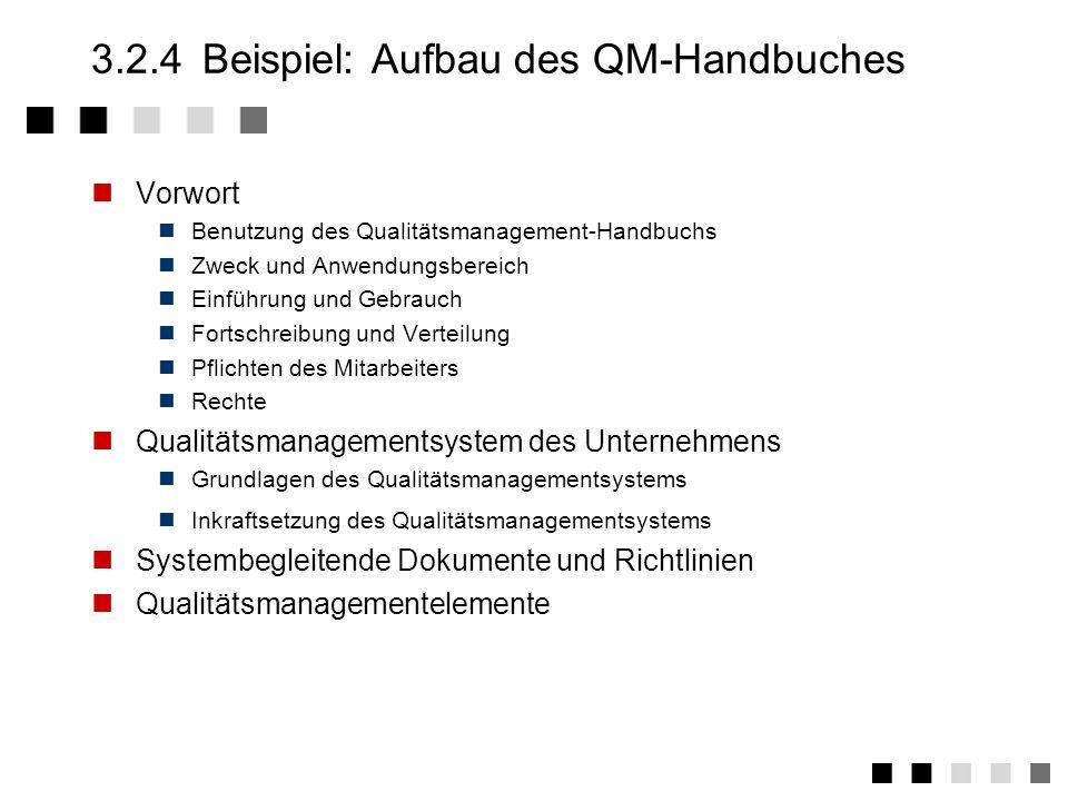 3.2.3Abgeleitete Tätigkeiten 1.Festlegung der Struktur des QM-Systems 2.Erstellung des QM-Handbuches und Inkraftsetzung durch Geschäftsleitung 3.Erstellung der QM-Dokumentation 4.Ermittlung der Ressourcen für QM-Maßnahmen 5.Festlegung des Änderungsverfahrens 6.Festlegung der Geltungsbereiche des QM-Systems bezogen auf Werke, Produkte und Organisations- einheiten.