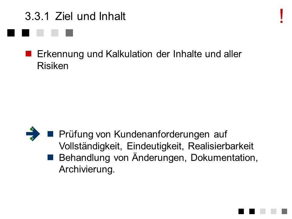 3.3Vertragsprüfung Ziel und Inhalte Anforderungen der Norm Prüfung der technischen Inhalte Prüfung der Aufwandsabschätzungen Prüfung der Kalkulation Abstimmung mit dem Auftraggeber Prüfung auf Übereinstimmung von Angebot und Auftrag Archivierung der Aufzeichnungen über die Vertragsprüfung Regelung der Verantwortlichkeiten