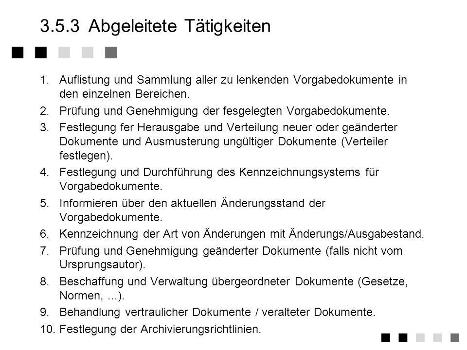 3.5.2Anforderungen der Norm Genehmigung und Herausgabe von Dokumenten und Daten Erstellung, Prüfung, Freigabe von Dokumenten durch authorisierte Personen Festlegung eines Kennzeichnungssystems Herausgabe/Verteilung neuer bzw.