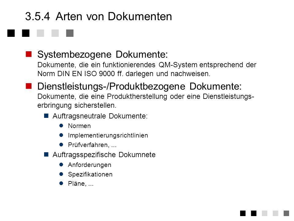 3.5.3Abgeleitete Tätigkeiten 1.Auflistung und Sammlung aller zu lenkenden Vorgabedokumente in den einzelnen Bereichen.