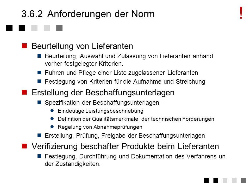 3.6.1Ziel und Inhalt Beschaffung von Produkten und Dienstleistungen zur benötigten Zeit, in der geforderten Qualität, in der erforderlichen Menge zu einem akzeptablen Preis Information des Lieferanten über alle Qualitätsanforderungen.