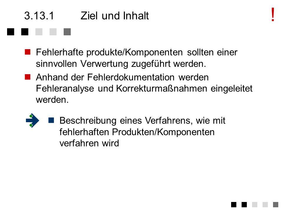3.13Lenkung fehlerhafter Produkte Ziel und Inhalt Anforderungen der Norm Tätigkeiten