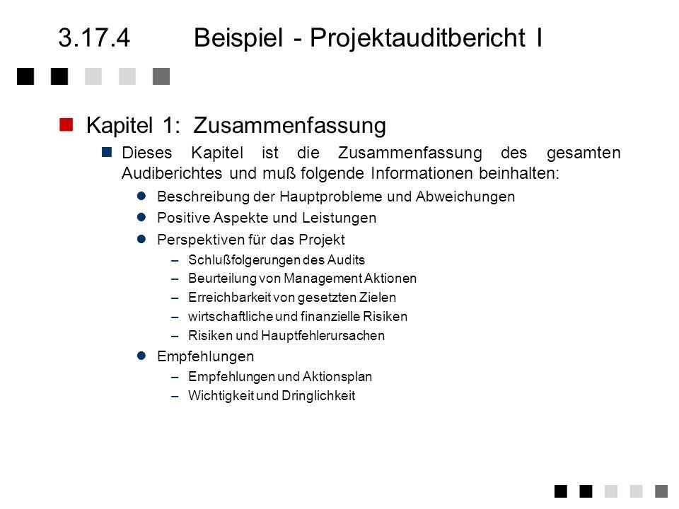 3.17.2Anforderungen der Norm Festlegung der Verfahren und zuständigkeiten für die Durchführung von internen Audits Ausbildung von Mitarbeitern zu qualifizierten Auditoren Planung und Durchführung interner Audits Erstellung und Bekanntgabe des Auditplanes Erstellung von bereichs- und elementsbezogenen Fragen Infor- mation der auditierten bereiche über den Zeitpunkt, den Inhalt und den Zweck des geplanten Audits Durchführung des Audits und Erstellung des Berichtes Durchsprache der Auditergebnisse mit dem Leiter des auditierten Bereiches Festlegung der Korrekturmaßnahmen und der jeweiligen Zuständigkeiten durch den Leiter des auditierten Bereiches Verifizierung der Wirksamkeit der Korrekturmaßnahmen !