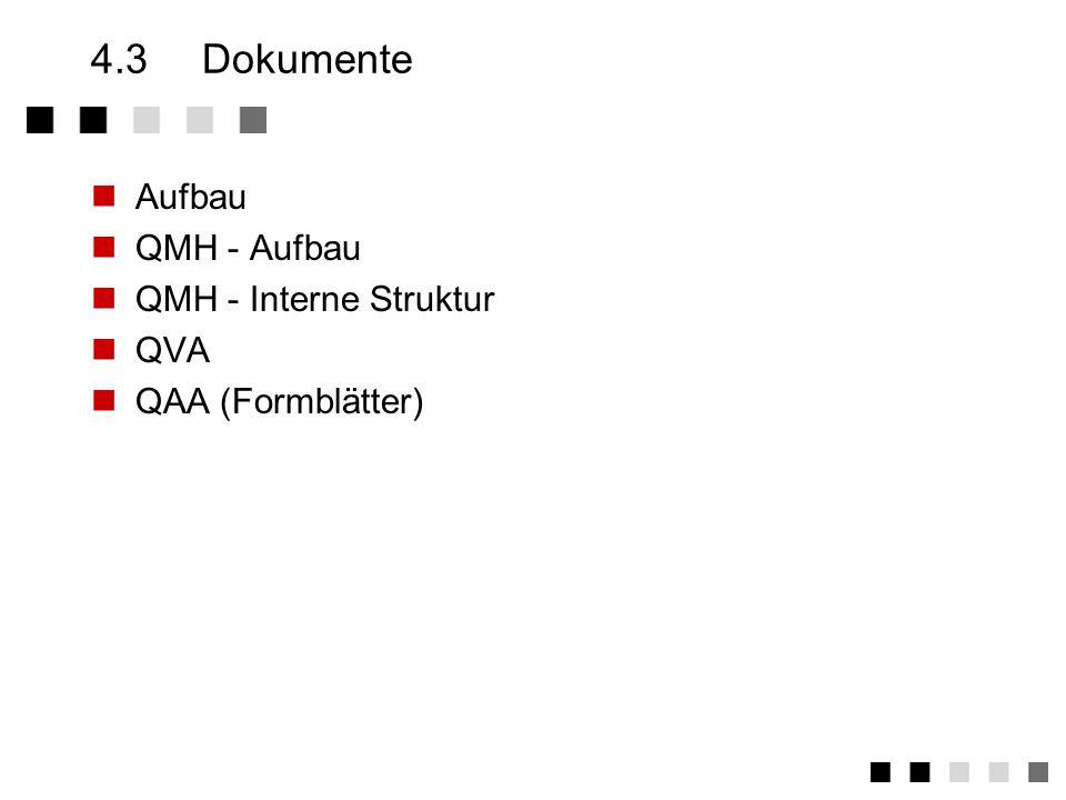 4.2.2Mitarbeiter beim Aufbau des Q-Systems Mitwirkung bei der Bestandsaufnahme Abgleich Soll gegen Ist Prozesse und Verfahren einführen/optimieren inhaltliche Überprüfung der Q-Dokumente bei der Überwachung des Q-Systems Durchführung bzw.