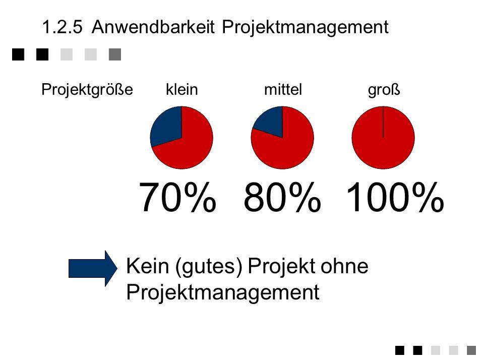 1.2.4Multiprojektmanagement Umsetzung der Organisationsformen des Projektmanagements für viele gleichzeitige Projekte.