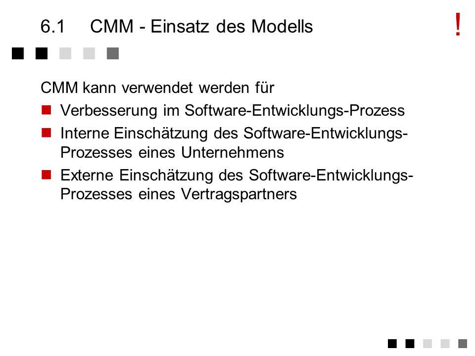 Kapitel 6CMM - Capability Maturity Model Einsatz des Modells Ziele von CMM Die Struktur von CMM Die 5 Levels Key Process Area Level 2 - Ein Beispiel Einschätzung, Zusammenfassung Ein Reifegradmodell für Software Fähigkeit Reifegrad Modell Version 1.1: Februar 1993 Version 2: In Vorbereitung