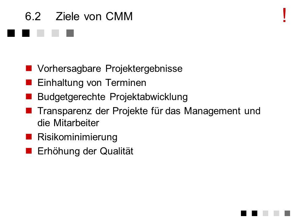 6.1CMM - Einsatz des Modells CMM kann verwendet werden für Verbesserung im Software-Entwicklungs-Prozess Interne Einschätzung des Software-Entwicklungs- Prozesses eines Unternehmens Externe Einschätzung des Software-Entwicklungs- Prozesses eines Vertragspartners !