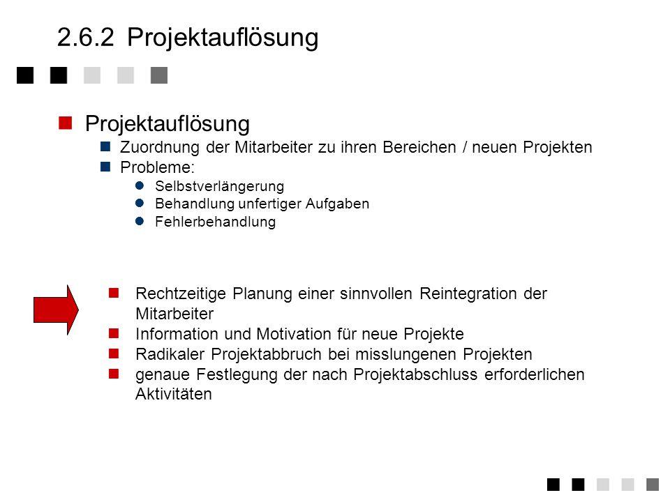 2.6.1Aktivitäten Ergebnisabnahme durch den Auftraggeber Ergebnisumsetzung Klärung der Einführungsmethode Vorbereitende Maßnahmen (z.B.