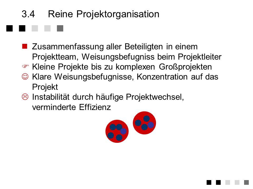 3.3Matrix-Organisation Kompetenzaufteilung zwischen Stäben und Abteilungen/Gruppen in fachliche bzw.