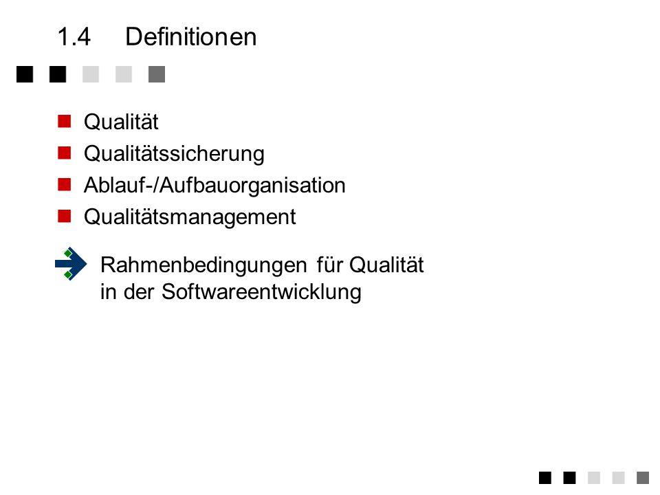 1.4.5Rahmenbedingungen bei der Softwareentwicklung Soziale Qualität: - Arbeitsplatzbedingungen - Führungsverhalten - Motivation - Kooperationsbereitschaft Technische Qualität: - Hardware - Tools - Environment Qualität des Arbeitsergebnisses Verfahrensqualität: - Organisationsstruktur - Abläufe - Methoden - Testverfahren !