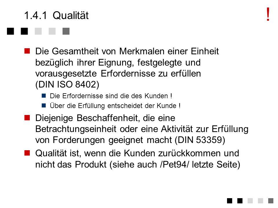 1.4Definitionen Qualität Qualitätssicherung Ablauf-/Aufbauorganisation Qualitätsmanagement FHSymbol1 Rahmenbedingungen für Qualität in der Softwareentwicklung