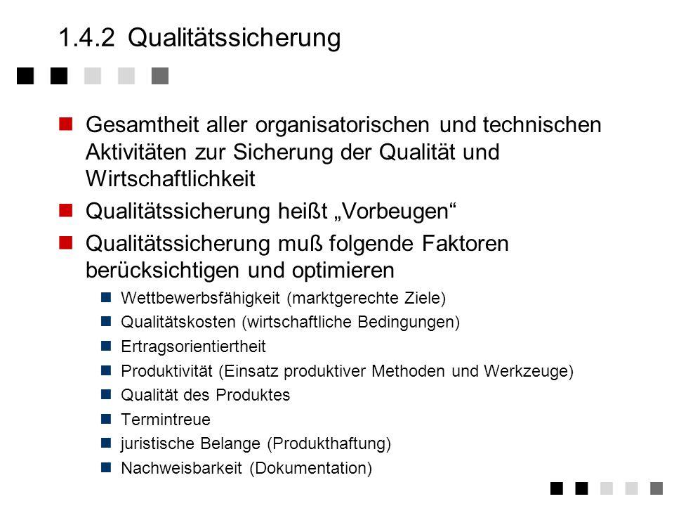1.4.1 Qualität Die Gesamtheit von Merkmalen einer Einheit bezüglich ihrer Eignung, festgelegte und vorausgesetzte Erfordernisse zu erfüllen (DIN ISO 8402) Die Erfordernisse sind die des Kunden .