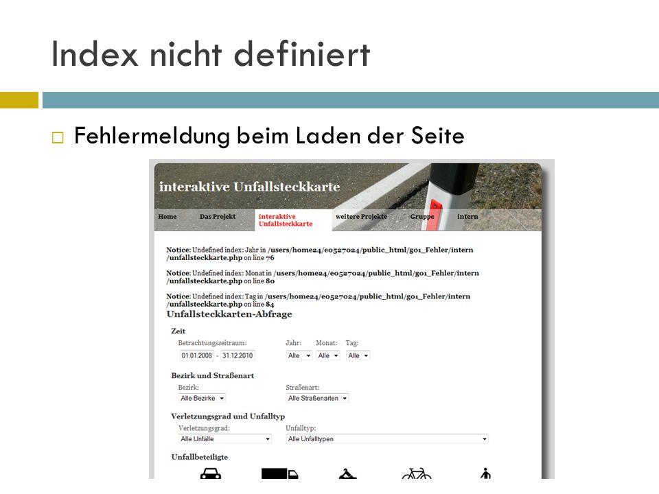 Index nicht definiert  Fehlermeldung beim Laden der Seite