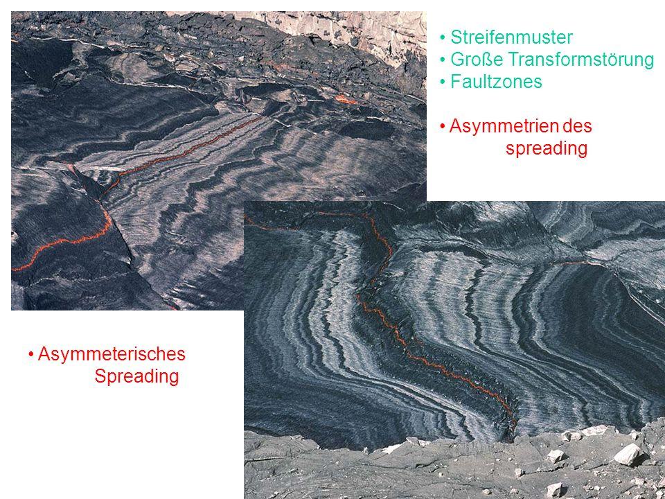 Streifenmuster Große Transformstörung Faultzones Asymmetrien des spreading Asymmeterisches Spreading