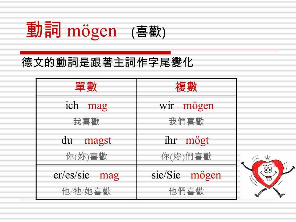 德文的動詞是跟著主詞作字尾變化 單數複數 ich mag 我喜歡 wir mögen 我們喜歡 du magst 你 ( 妳 ) 喜歡 ihr mögt 你 ( 妳 ) 們喜歡 er/es/sie mag 他 / 牠 / 她喜歡 sie/Sie mögen 他們喜歡