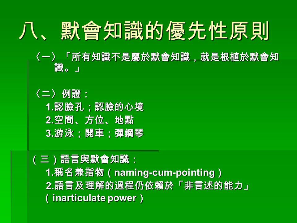 八、默會知識的優先性原則 〈一〉「所有知識不是屬於默會知識,就是根植於默會知 識。」 〈二〉例證: 1. 認臉孔;認臉的心境 2. 空間、方位、地點 3. 游泳;開車;彈鋼琴 (三)語言與默會知識: (三)語言與默會知識: 1. 稱名兼指物( naming-cum-pointing ) 2. 語言及