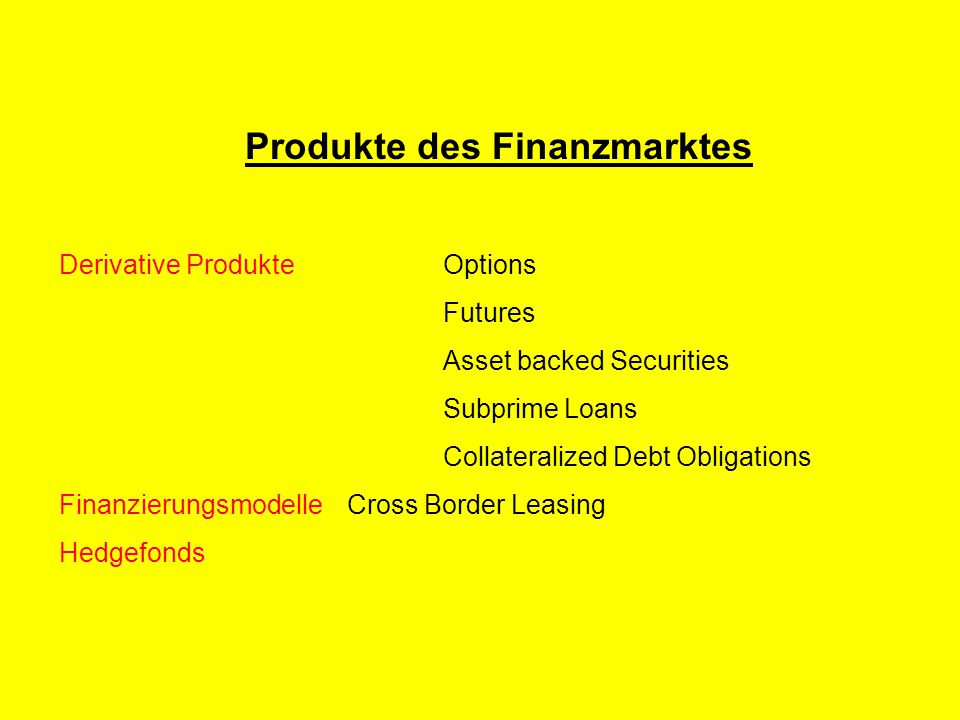 R Z B - M A R K E T I N G Produkte des Finanzmarktes Derivative ProdukteOptions Futures Asset backed Securities Subprime Loans Collateralized Debt Obligations FinanzierungsmodelleCross Border Leasing Hedgefonds