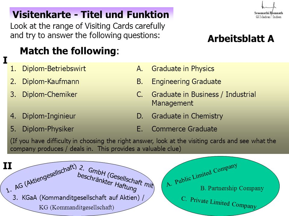 Arbeitsblatt A Look at the range of Visiting Cards carefully and try to answer the following questions: 1.Diplom-BetriebswirtA.Graduate in Physics 2.Diplom-KaufmannB.Engineering Graduate 3.Diplom-ChemikerC.Graduate in Business / Industrial Management 4.Diplom-InginieurD.Graduate in Chemistry 5.Diplom-PhysikerE.Commerce Graduate (If you have difficulty in choosing the right answer, look at the visiting cards and see what the company produces / deals in.