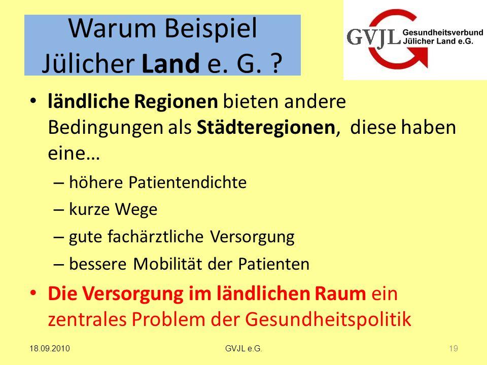 Warum Beispiel Jülicher Land e. G. ? ländliche Regionen bieten andere Bedingungen als Städteregionen, diese haben eine… – höhere Patientendichte – kur
