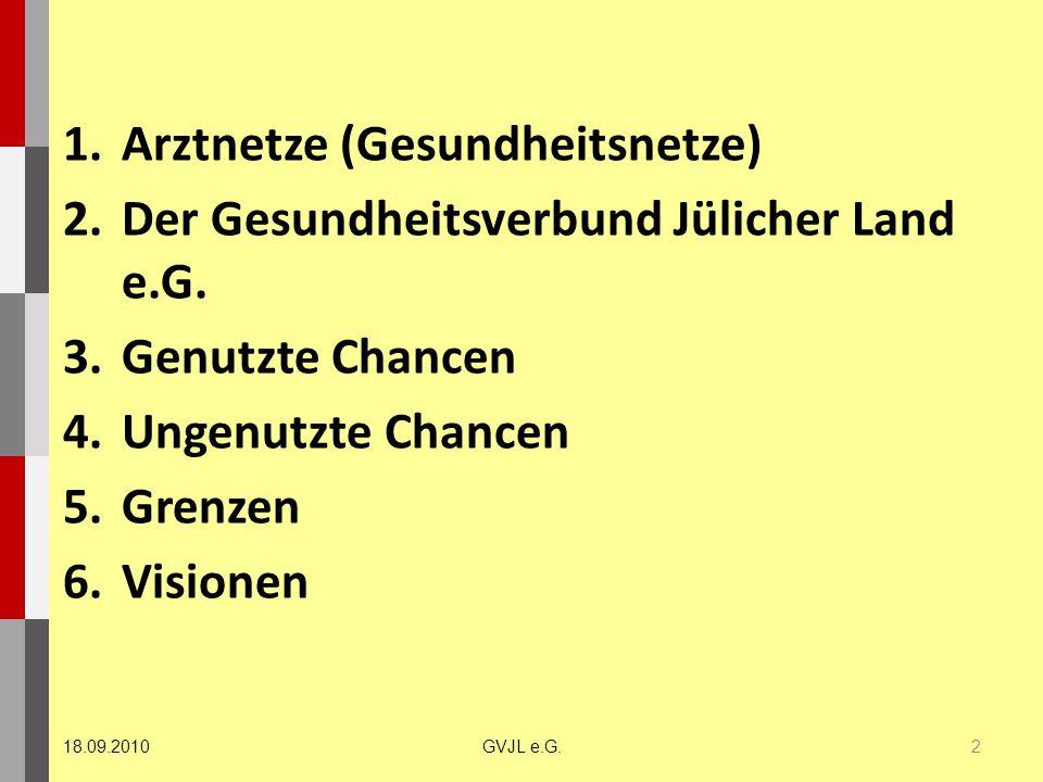 1.Arztnetze (Gesundheitsnetze) 2.Der Gesundheitsverbund Jülicher Land e.G. 3.Genutzte Chancen 4.Ungenutzte Chancen 5.Grenzen 6.Visionen 2 GVJL e.G.18.