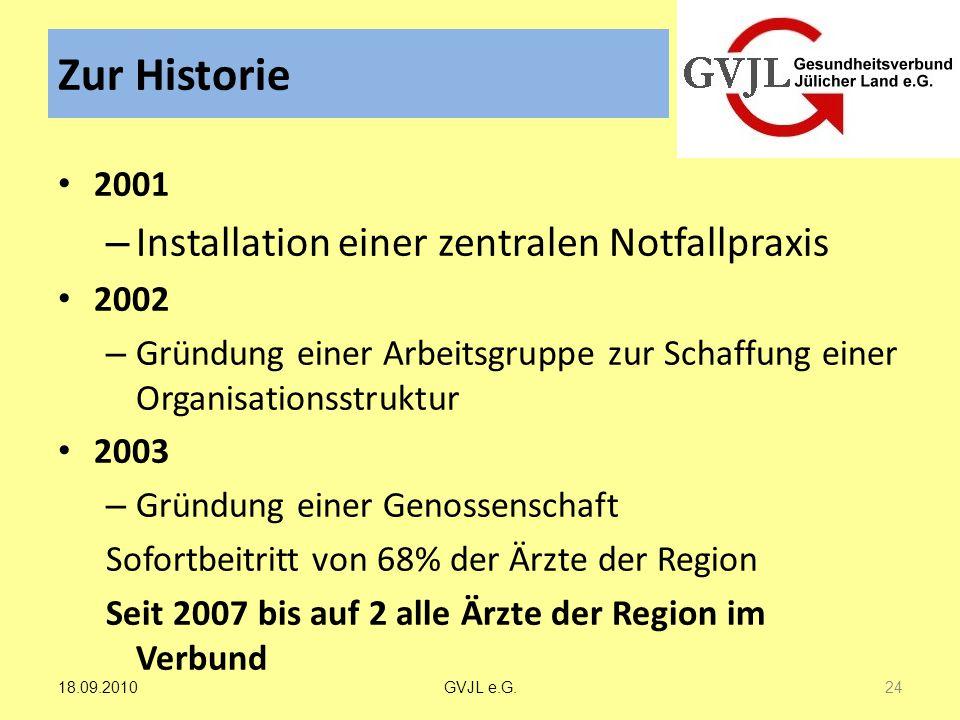 Zur Historie 2001 – Installation einer zentralen Notfallpraxis 2002 – Gründung einer Arbeitsgruppe zur Schaffung einer Organisationsstruktur 2003 – Gr