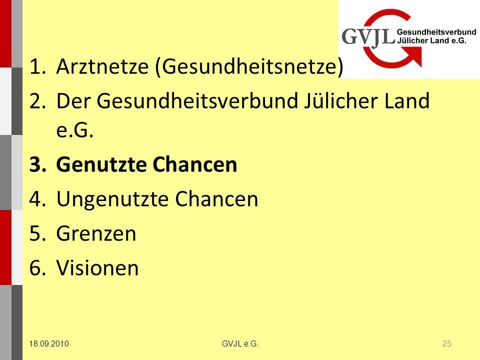 1.Arztnetze (Gesundheitsnetze) 2.Der Gesundheitsverbund Jülicher Land e.G. 3.Genutzte Chancen 4.Ungenutzte Chancen 5.Grenzen 6.Visionen 25 GVJL e.G.18