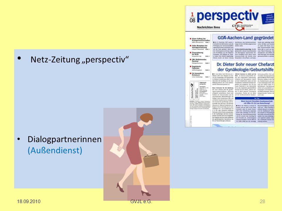 """Netz-Zeitung """"perspectiv"""" Dialogpartnerinnen (Außendienst) 28 GVJL e.G.18.09.2010"""