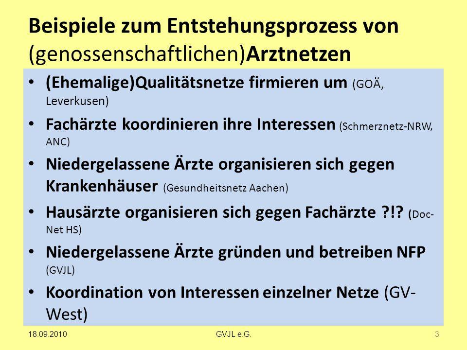 Beispiele zum Entstehungsprozess von (genossenschaftlichen)Arztnetzen (Ehemalige)Qualitätsnetze firmieren um (GOÄ, Leverkusen) Fachärzte koordinieren