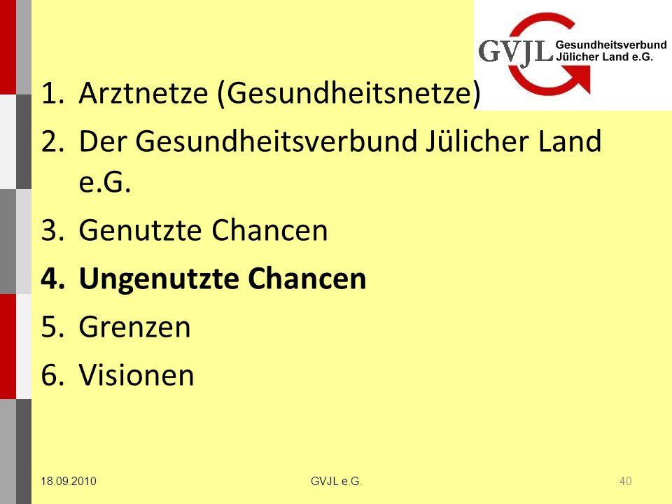1.Arztnetze (Gesundheitsnetze) 2.Der Gesundheitsverbund Jülicher Land e.G. 3.Genutzte Chancen 4.Ungenutzte Chancen 5.Grenzen 6.Visionen 40 GVJL e.G.18