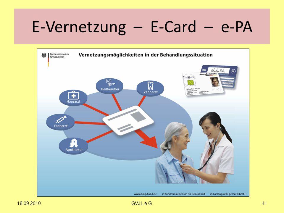 E-Vernetzung – E-Card – e-PA 41 GVJL e.G.18.09.2010