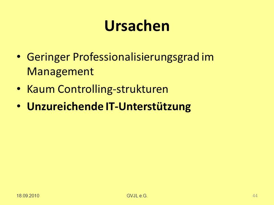 Ursachen Geringer Professionalisierungsgrad im Management Kaum Controlling-strukturen Unzureichende IT-Unterstützung 44 GVJL e.G.18.09.2010