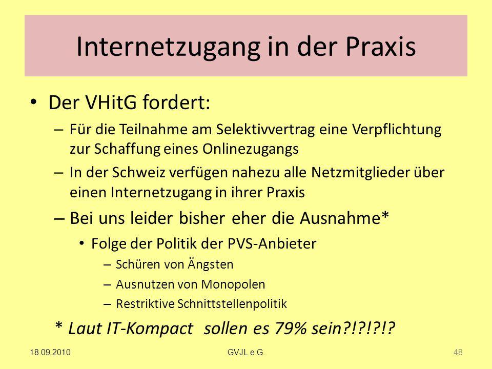 Internetzugang in der Praxis Der VHitG fordert: – Für die Teilnahme am Selektivvertrag eine Verpflichtung zur Schaffung eines Onlinezugangs – In der S