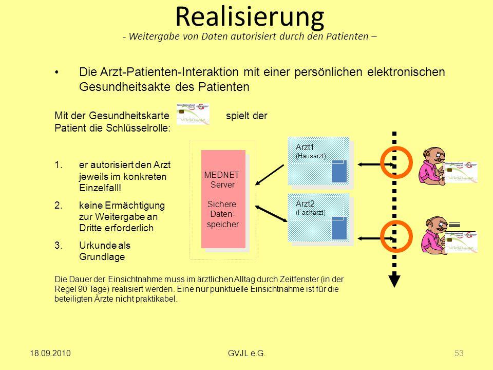 Realisierung - Weitergabe von Daten autorisiert durch den Patienten – Mit der Gesundheitskarte spielt der Patient die Schlüsselrolle: MEDNET Server Si