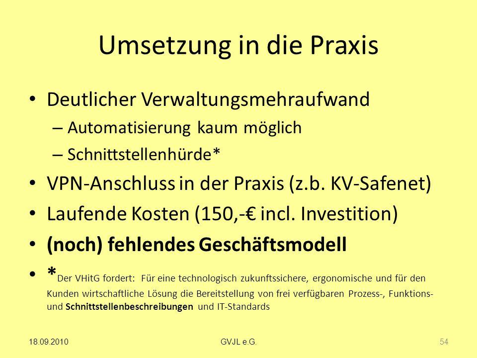 Umsetzung in die Praxis Deutlicher Verwaltungsmehraufwand – Automatisierung kaum möglich – Schnittstellenhürde* VPN-Anschluss in der Praxis (z.b. KV-S