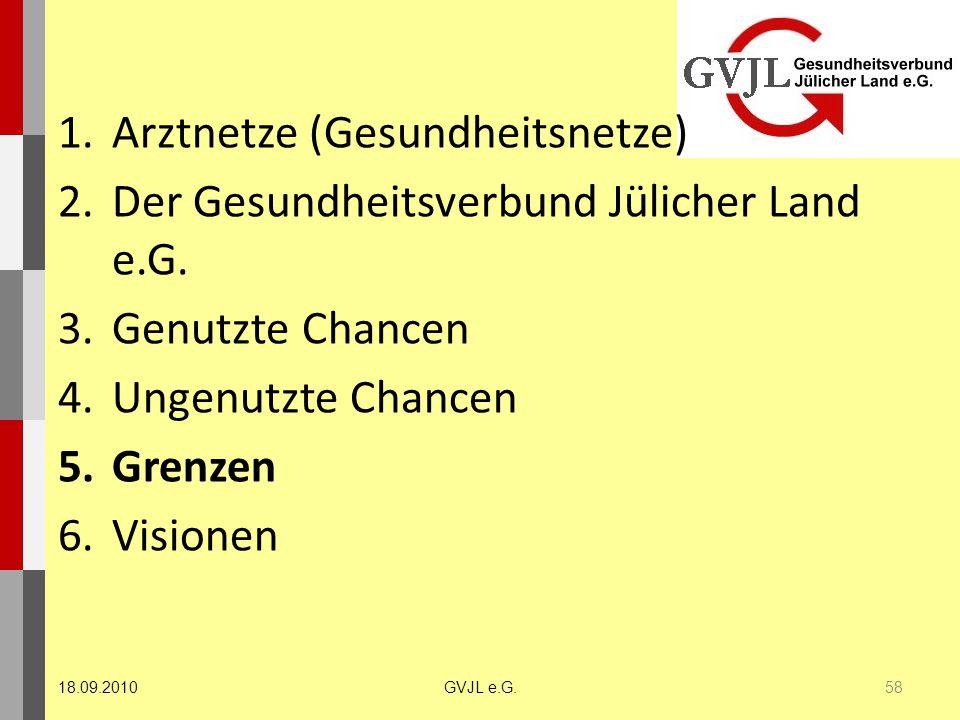 1.Arztnetze (Gesundheitsnetze) 2.Der Gesundheitsverbund Jülicher Land e.G. 3.Genutzte Chancen 4.Ungenutzte Chancen 5.Grenzen 6.Visionen 58 GVJL e.G.18