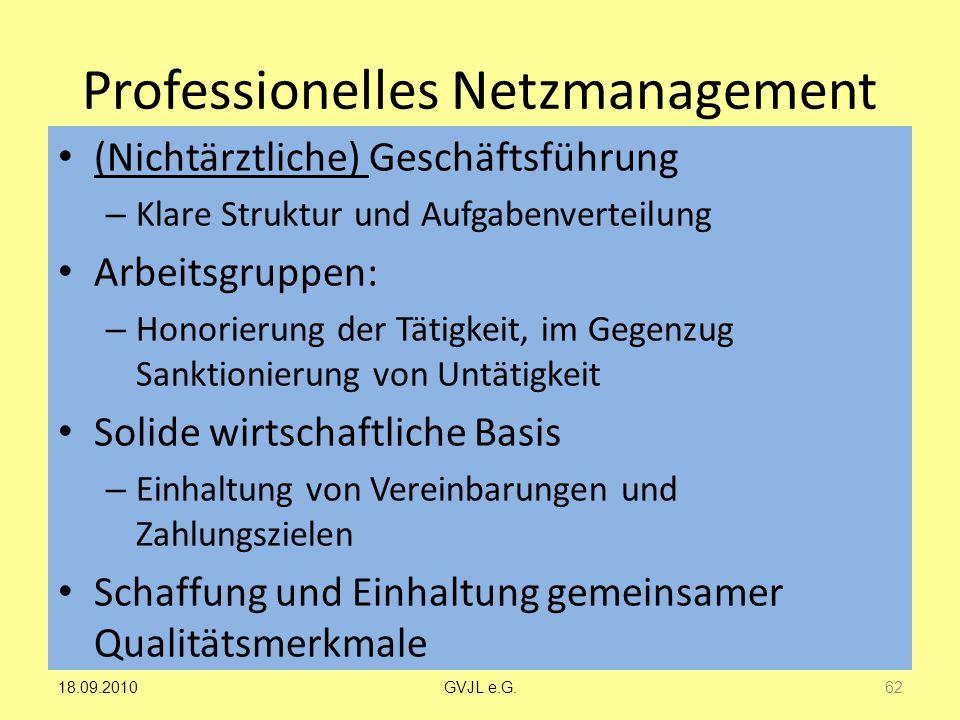 Professionelles Netzmanagement (Nichtärztliche) Geschäftsführung – Klare Struktur und Aufgabenverteilung Arbeitsgruppen: – Honorierung der Tätigkeit,
