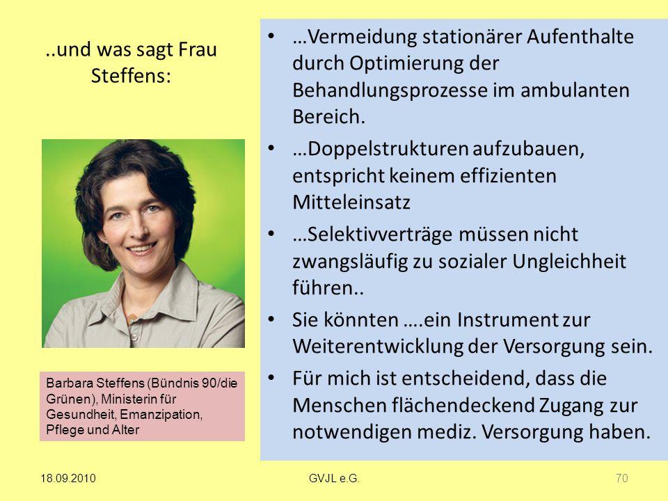 ..und was sagt Frau Steffens: …Vermeidung stationärer Aufenthalte durch Optimierung der Behandlungsprozesse im ambulanten Bereich. …Doppelstrukturen a
