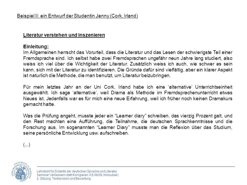 Lehrstuhl für Didaktik der deutschen Sprache und Literatur Seminar Verbessern statt Korrigieren WS 08/09 (Holoubek) 2. Sitzung: Textrevision und Bewer