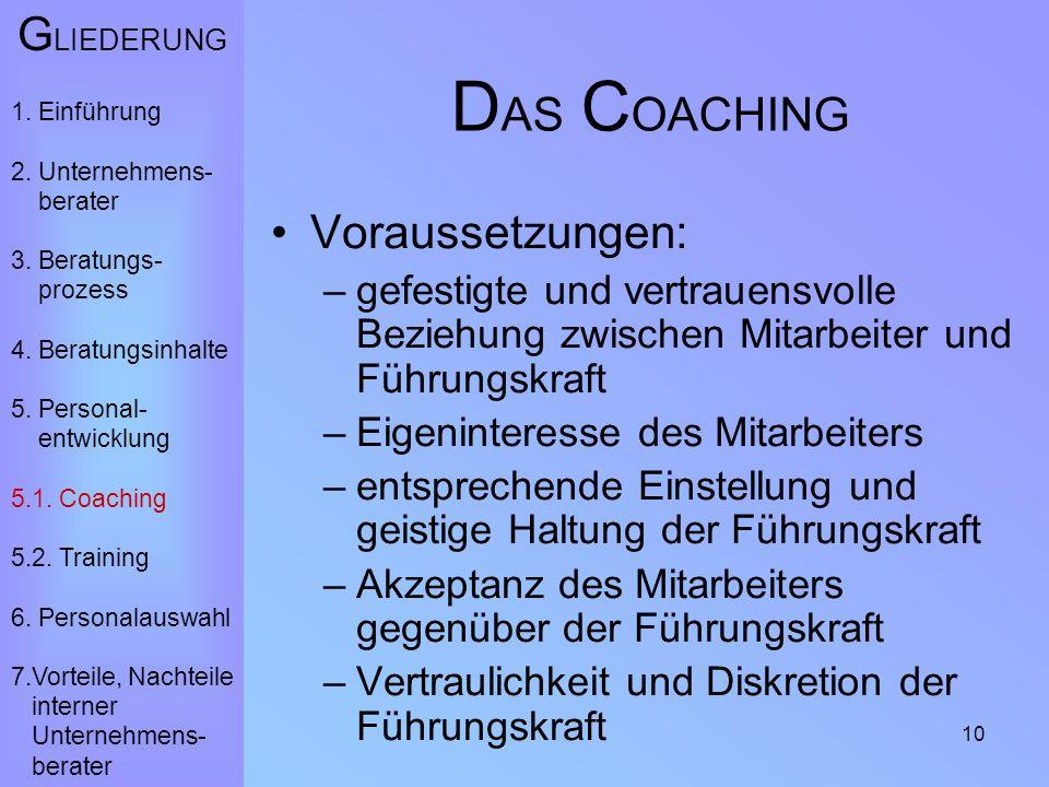 10 D AS C OACHING Voraussetzungen: –gefestigte und vertrauensvolle Beziehung zwischen Mitarbeiter und Führungskraft –Eigeninteresse des Mitarbeiters –