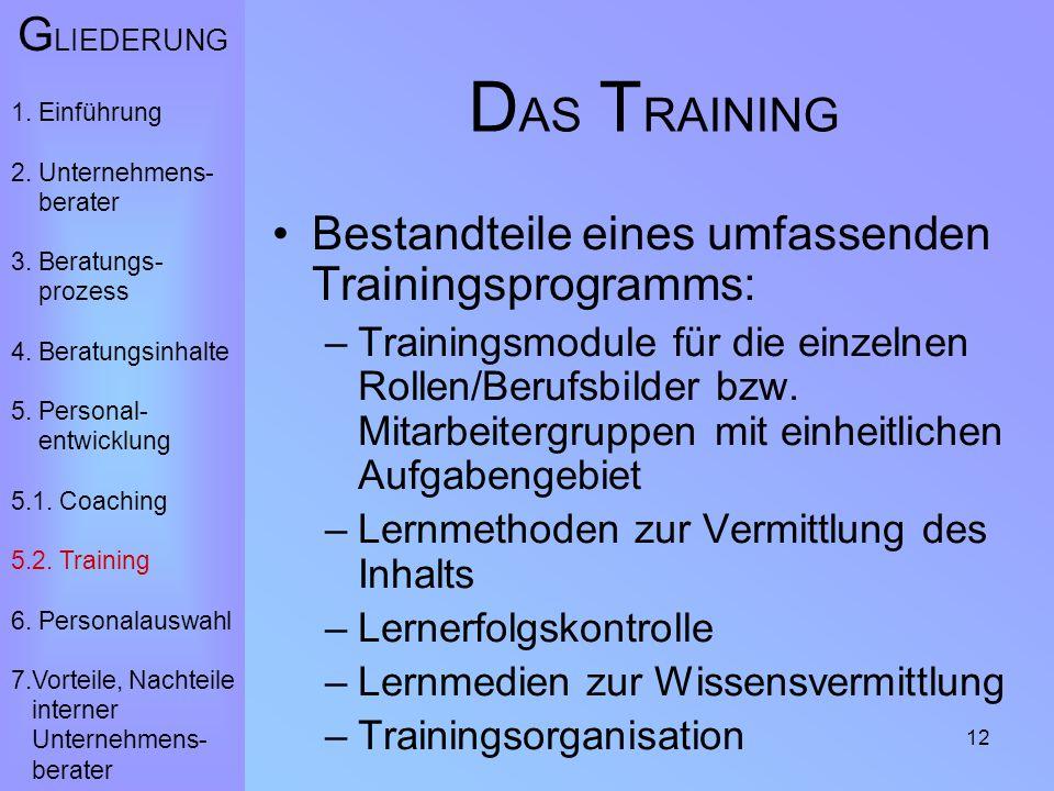 12 D AS T RAINING Bestandteile eines umfassenden Trainingsprogramms: –Trainingsmodule für die einzelnen Rollen/Berufsbilder bzw. Mitarbeitergruppen mi