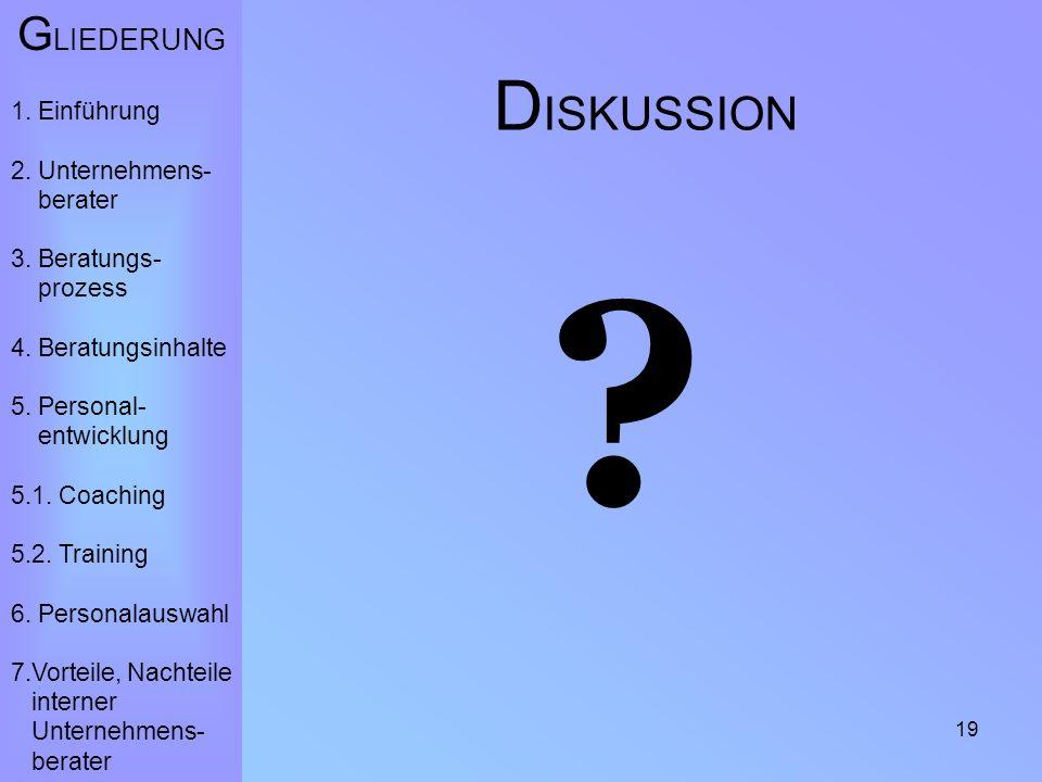 19 D ISKUSSION . G LIEDERUNG 1. Einführung 2. Unternehmens- berater 3.