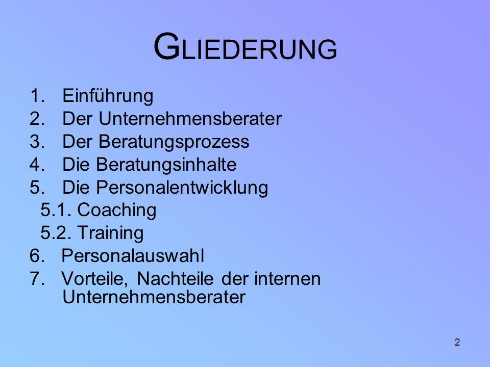 2 G LIEDERUNG 1.Einführung 2.Der Unternehmensberater 3.Der Beratungsprozess 4.Die Beratungsinhalte 5.Die Personalentwicklung 5.1. Coaching 5.2. Traini