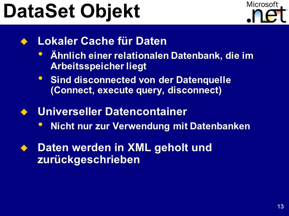 13 DataSet Objekt  Lokaler Cache für Daten Ähnlich einer relationalen Datenbank, die im Arbeitsspeicher liegt Sind disconnected von der Datenquelle (Connect, execute query, disconnect)  Universeller Datencontainer Nicht nur zur Verwendung mit Datenbanken  Daten werden in XML geholt und zurückgeschrieben