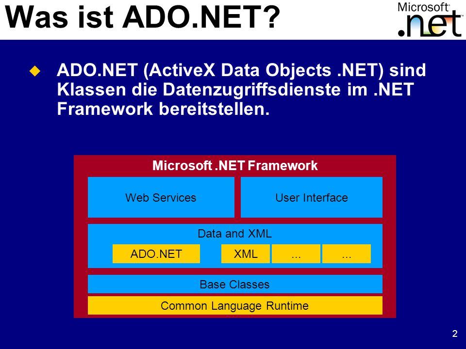 23 DataSet und XML  DataSet bietet Methoden mit denen man XML lesen und schreiben kann ReadXml: Liest XML Daten in ein DataSet, Schemainformationen nur wenn vorhanden ReadXmlSchema: Liest XML Schema in ein DataSet Zum Schreiben: WriteXml, WriteXmlSchema  Schema kann als XSD geladen/gespeichert werden  Schema kann automatisch aus DataSet erzeugt werden