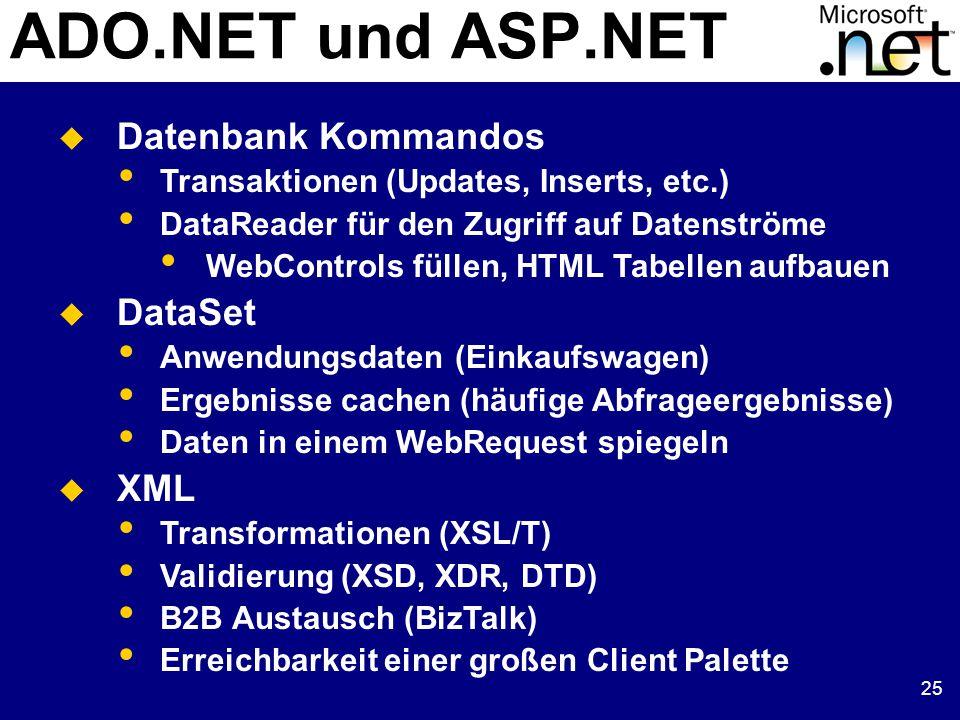 25 ADO.NET und ASP.NET  Datenbank Kommandos Transaktionen (Updates, Inserts, etc.) DataReader für den Zugriff auf Datenströme WebControls füllen, HTML Tabellen aufbauen  DataSet Anwendungsdaten (Einkaufswagen) Ergebnisse cachen (häufige Abfrageergebnisse) Daten in einem WebRequest spiegeln  XML Transformationen (XSL/T) Validierung (XSD, XDR, DTD) B2B Austausch (BizTalk) Erreichbarkeit einer großen Client Palette