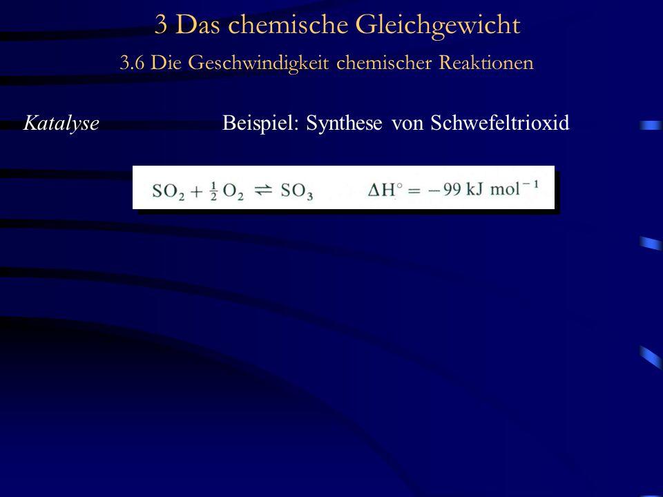3 Das chemische Gleichgewicht 3.6 Die Geschwindigkeit chemischer Reaktionen KatalyseBeispiel: Synthese von Schwefeltrioxid